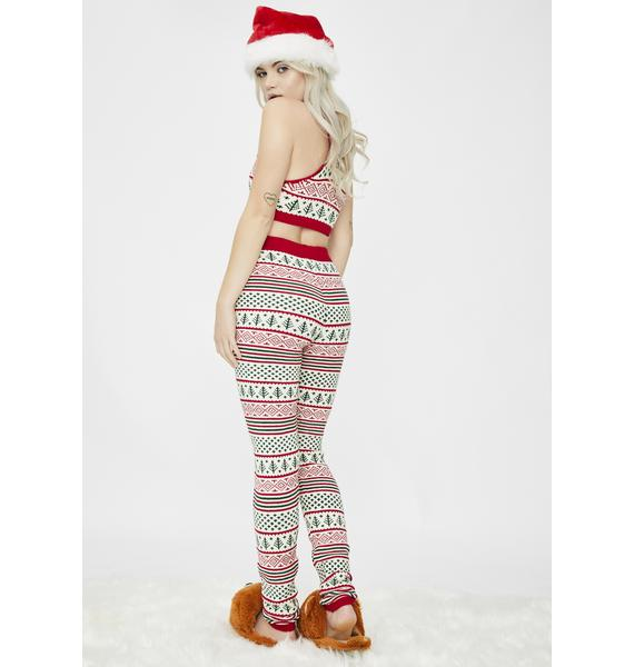 Knitty Kitty Vintage Christmas Knit Leggings