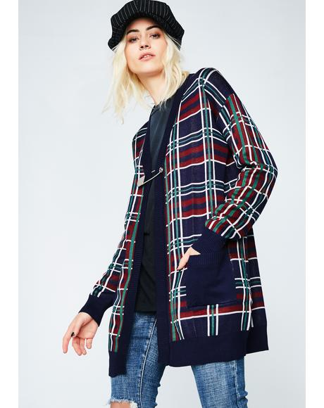 Wreak Havoc Plaid Cardigan