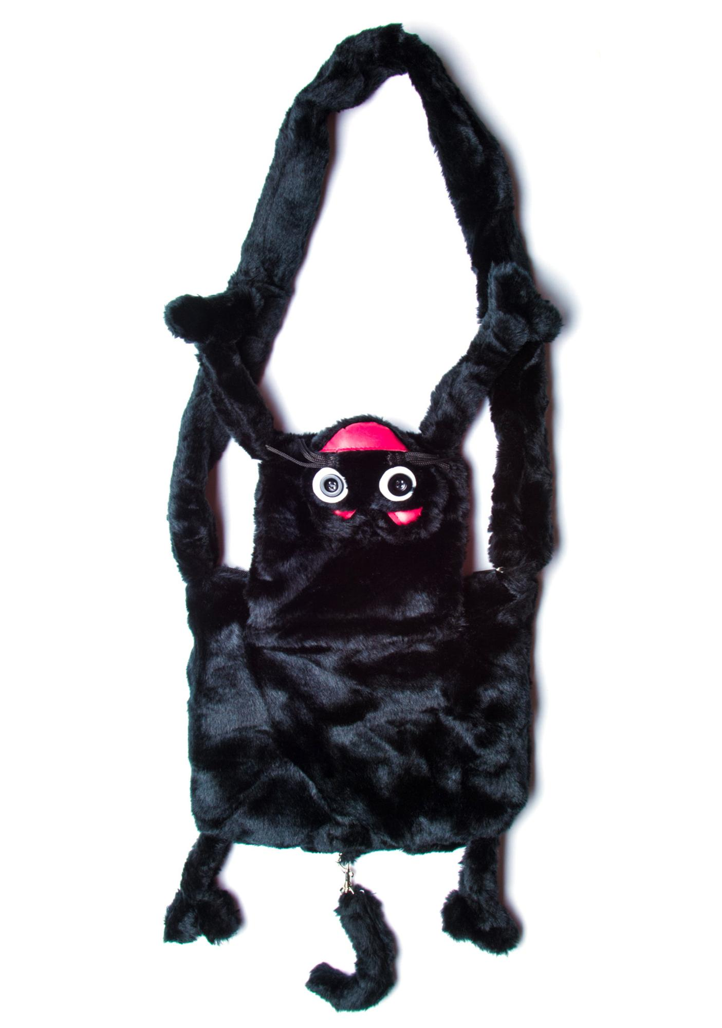Hell Bunny Who Let the Black Cat Out Fur Bag