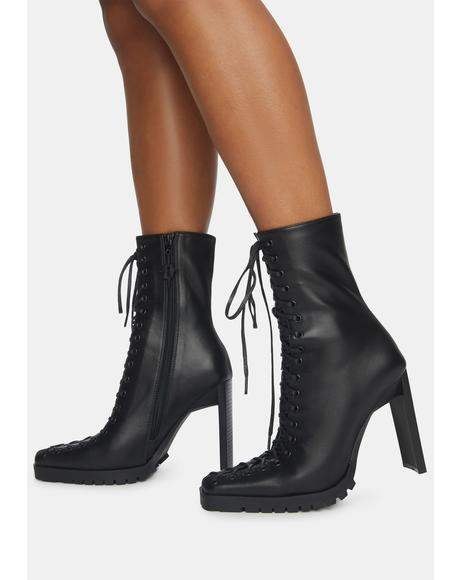 Synth Leather Lace-Up Ankle Boots