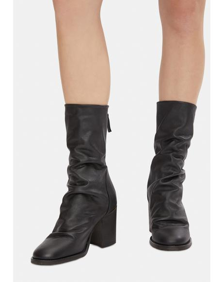 Black Elle Block Heel Boots