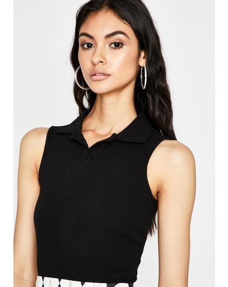 Study Buddy Polo Crop Top