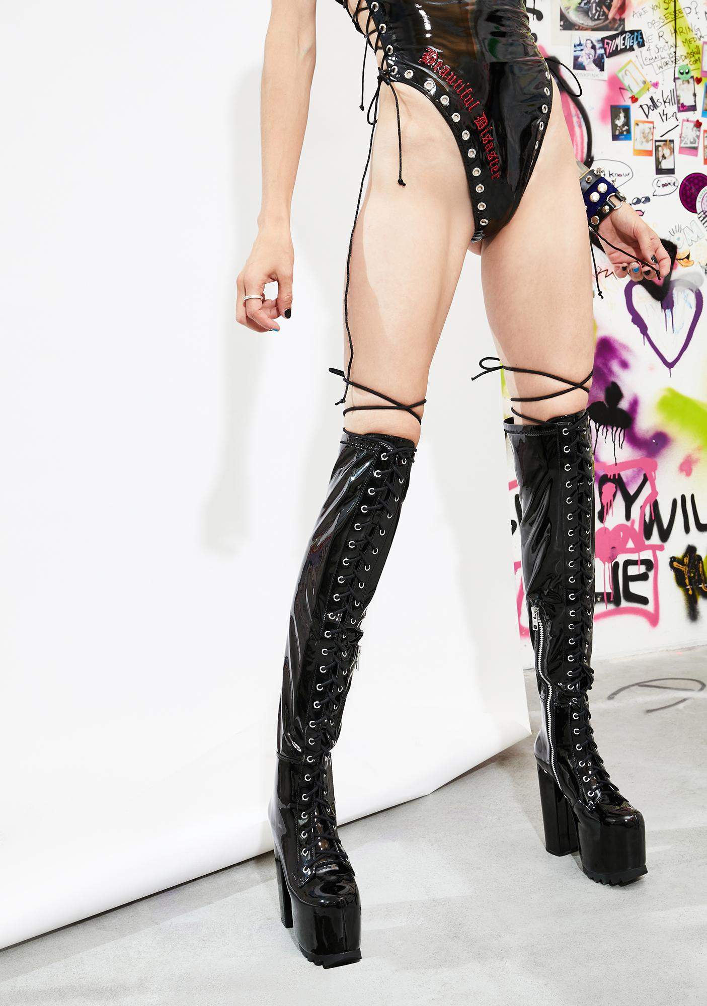 Current Mood Bedlam Thigh High Lace Up Boots