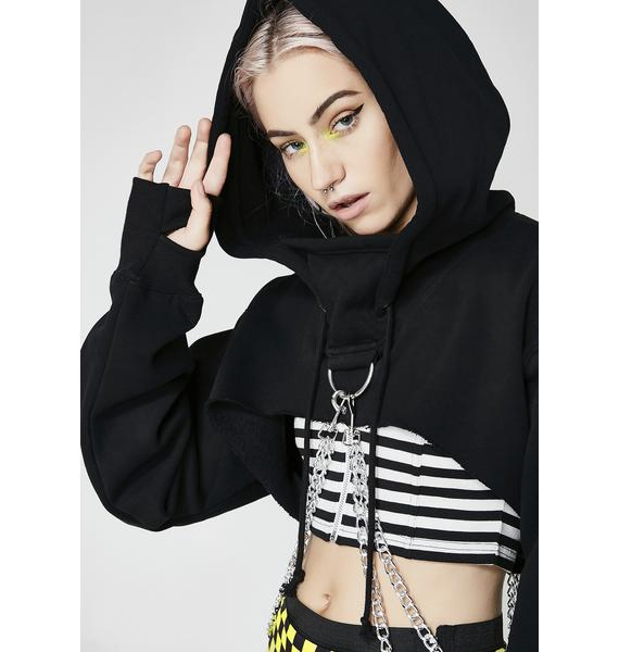Current Mood Chained N' Dangerous Crop Hoodie