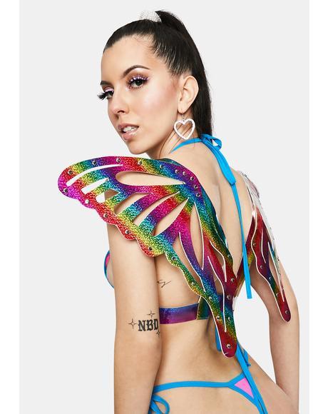 Rainbow Sparkle Butterfly Wings Harness