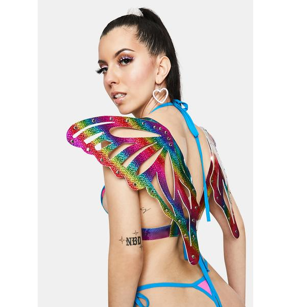 Daisy Corsets Rainbow Sparkle Butterfly Wings Harness