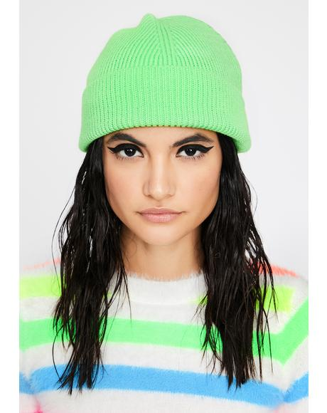 Slime Color Shock Ribbed Beanie