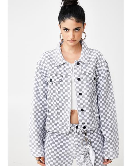 Checkerboard Cropped Denim Jacket