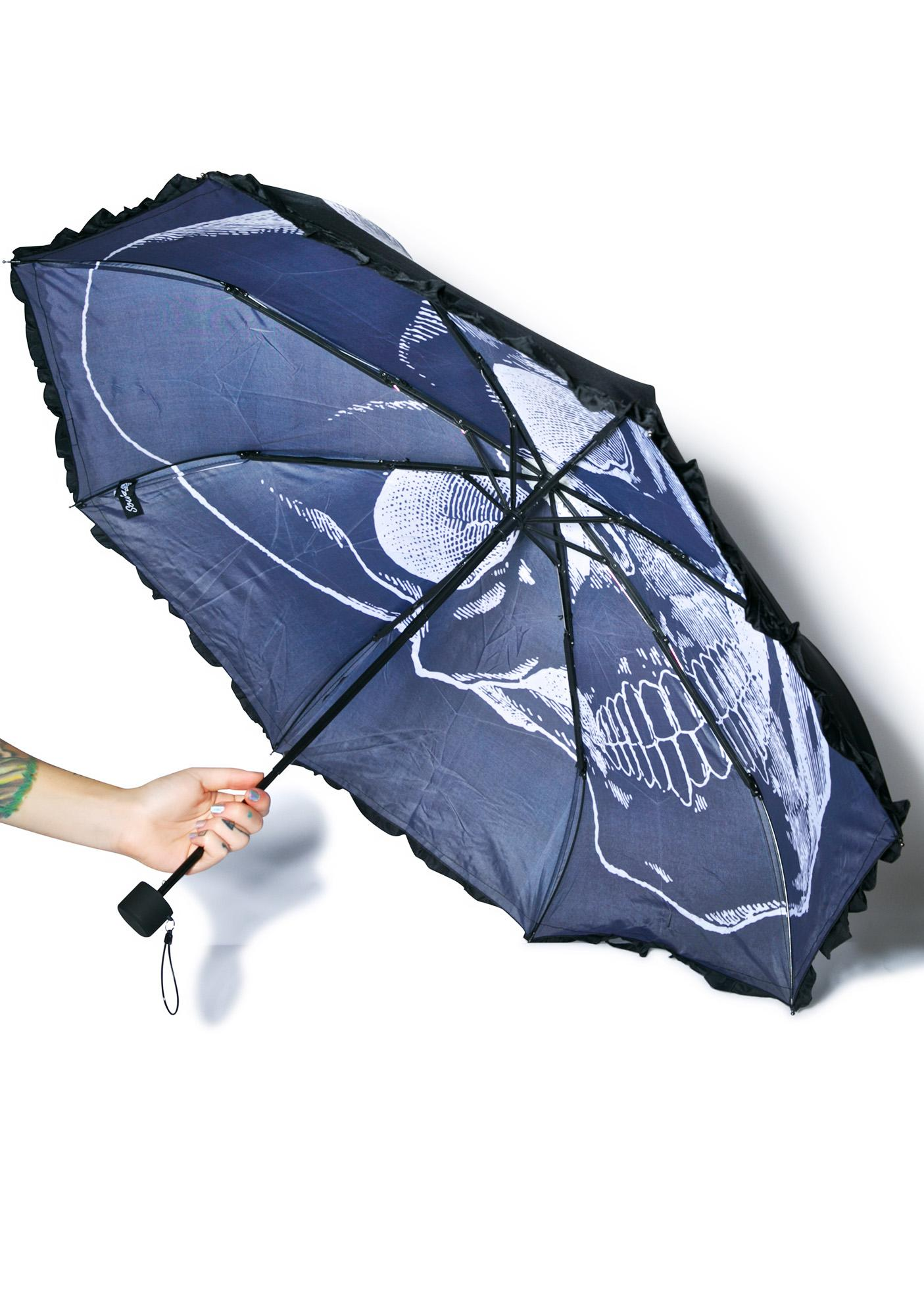 Sourpuss Clothing Skull Umbrella