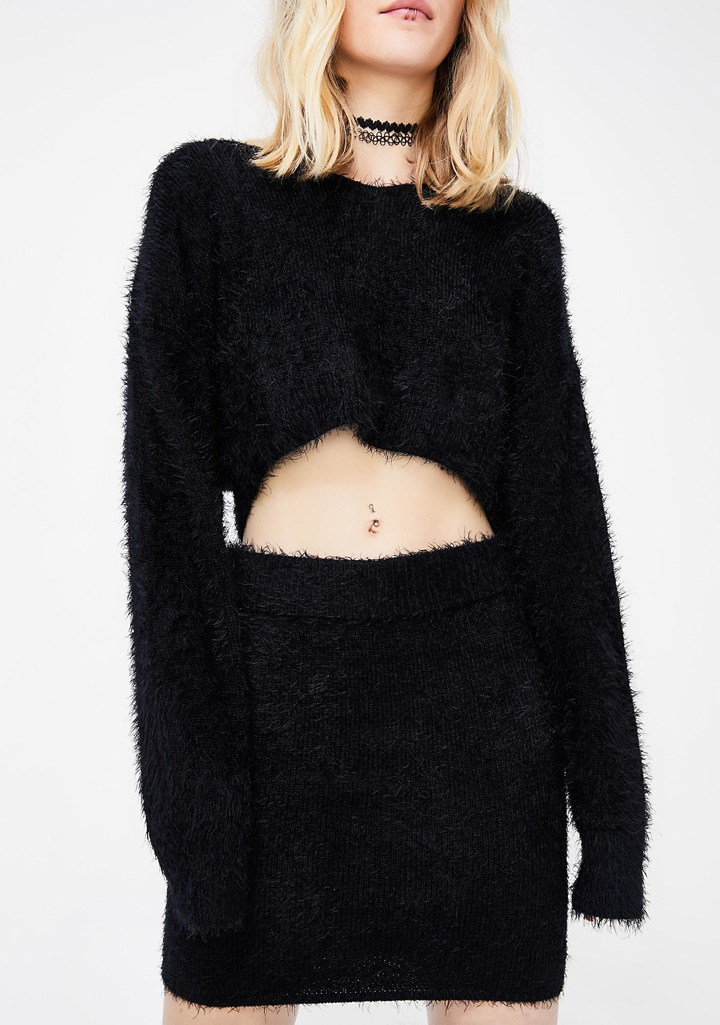 Black Fuzzy Sweater Skirt Set | Dolls Kill