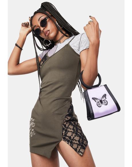 Lace Blocked Mini Dress
