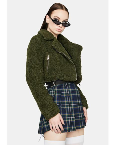 Olive Crop Me Out Sherpa Jacket