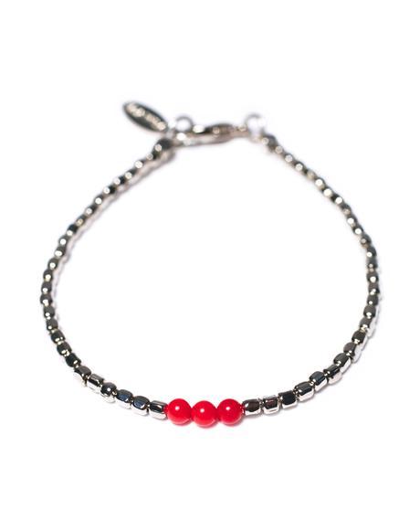 Triple Red Coral Bead Silver Bracelet