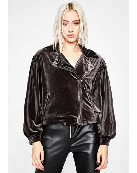 Night Babe Alert Velvet Moto Jacket