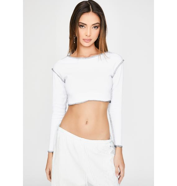 Riccetti Clothing White Contrast Stitch Crop Top