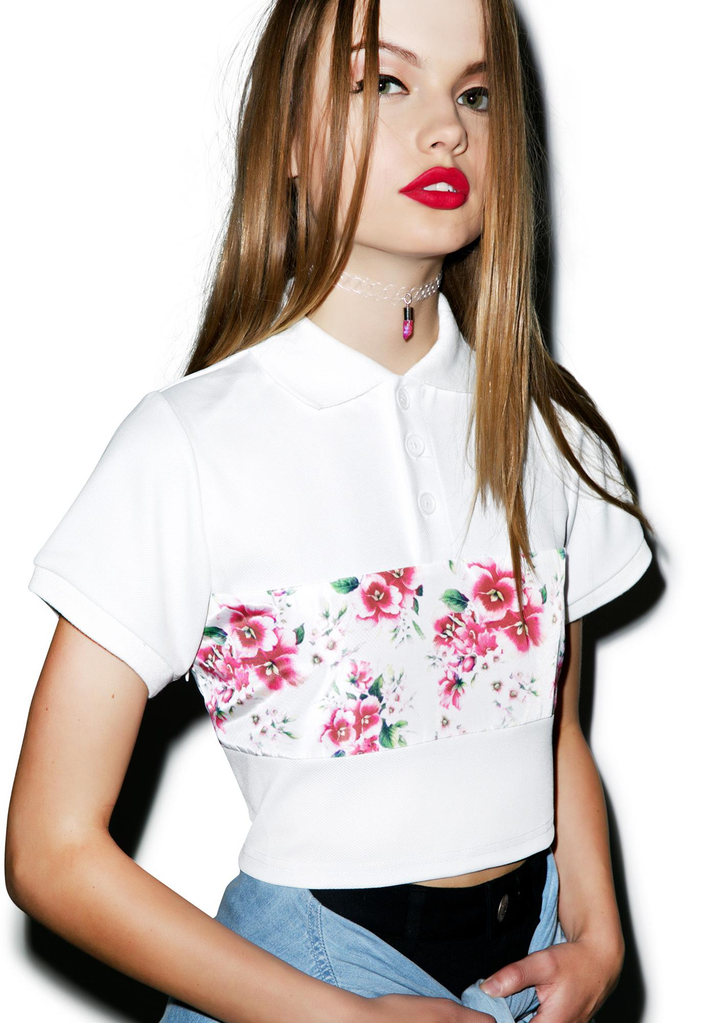 Joyrich Sunset Wallflower Cropped Polo Shirt