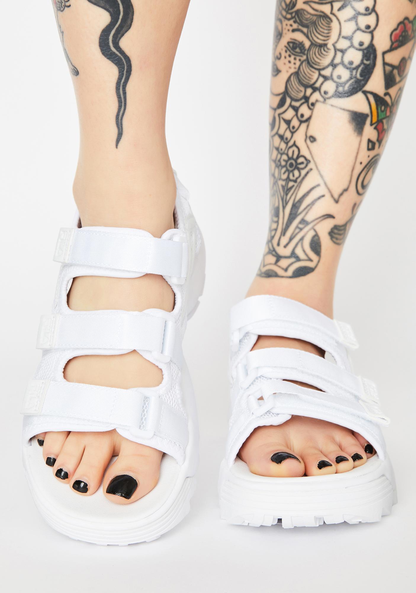 Fila White Disruptor Platform Sandals