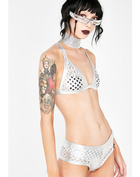 Futuristic Mirage Metallic Bra