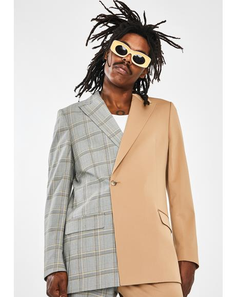 Spliced Check Oversized Blazer