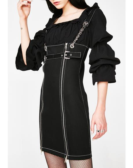 Zip Front Black Denim Dress