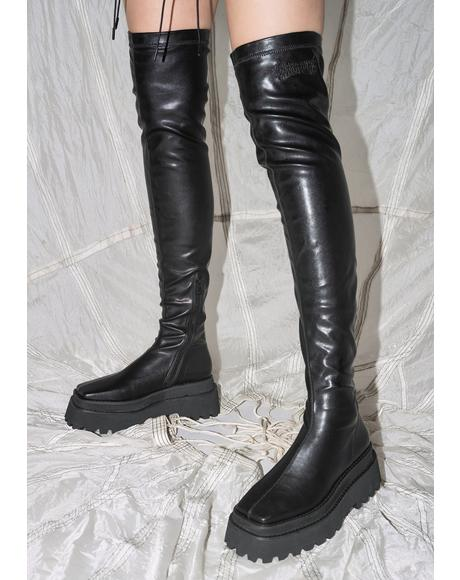Synth Leather Over The Knee Boots