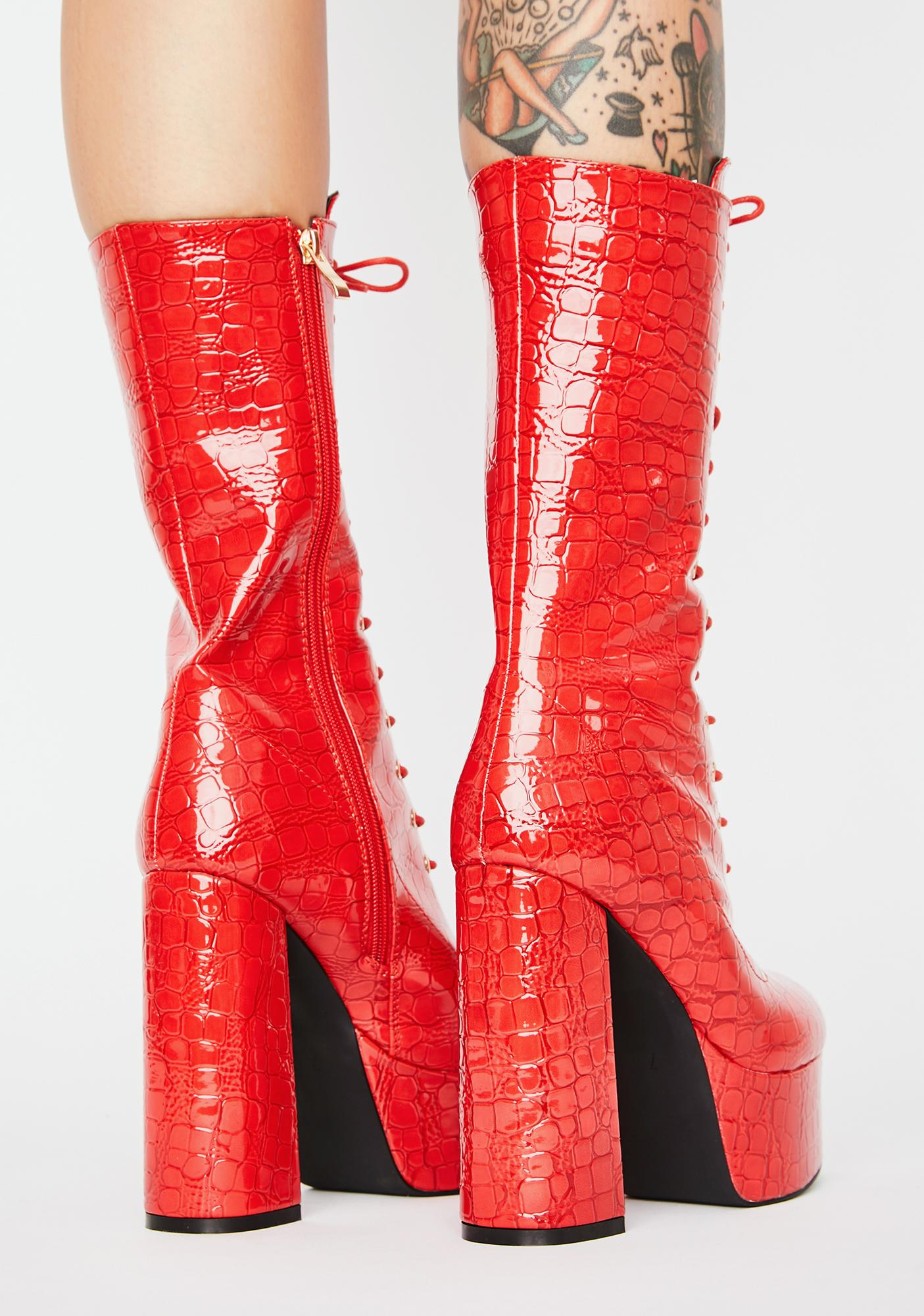 AZALEA WANG Hawt Believer Lace-Up Boots