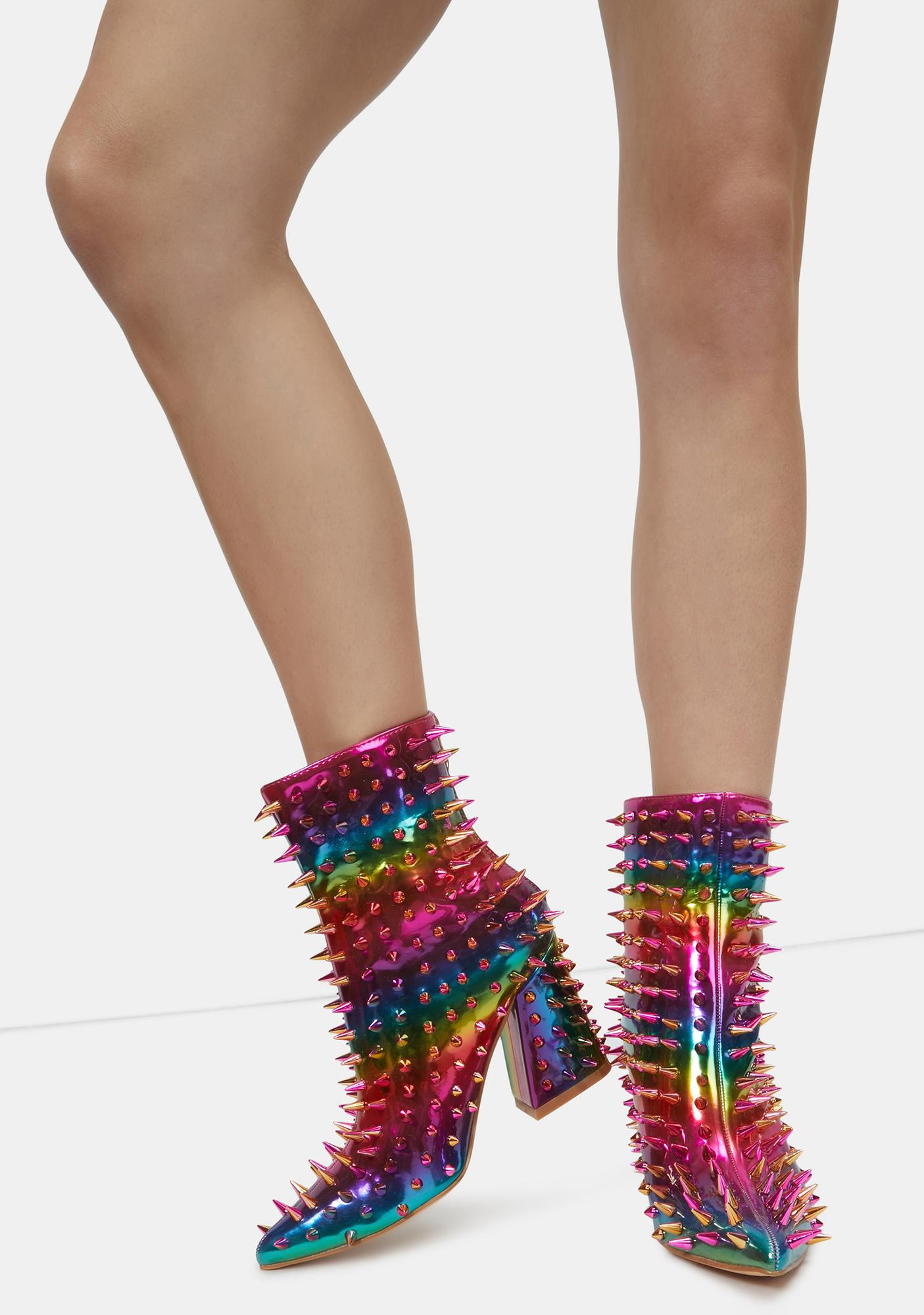 Rainbow Throw A Fit Spike Ankle Boots