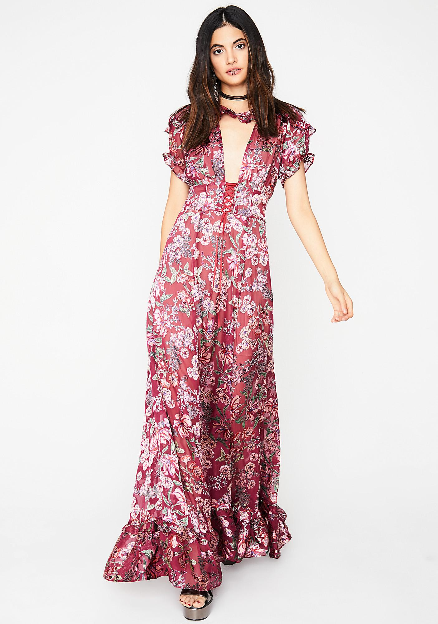 d3438976aaeba For Love & Lemons Berry Flora Maxi Dress | Dolls Kill