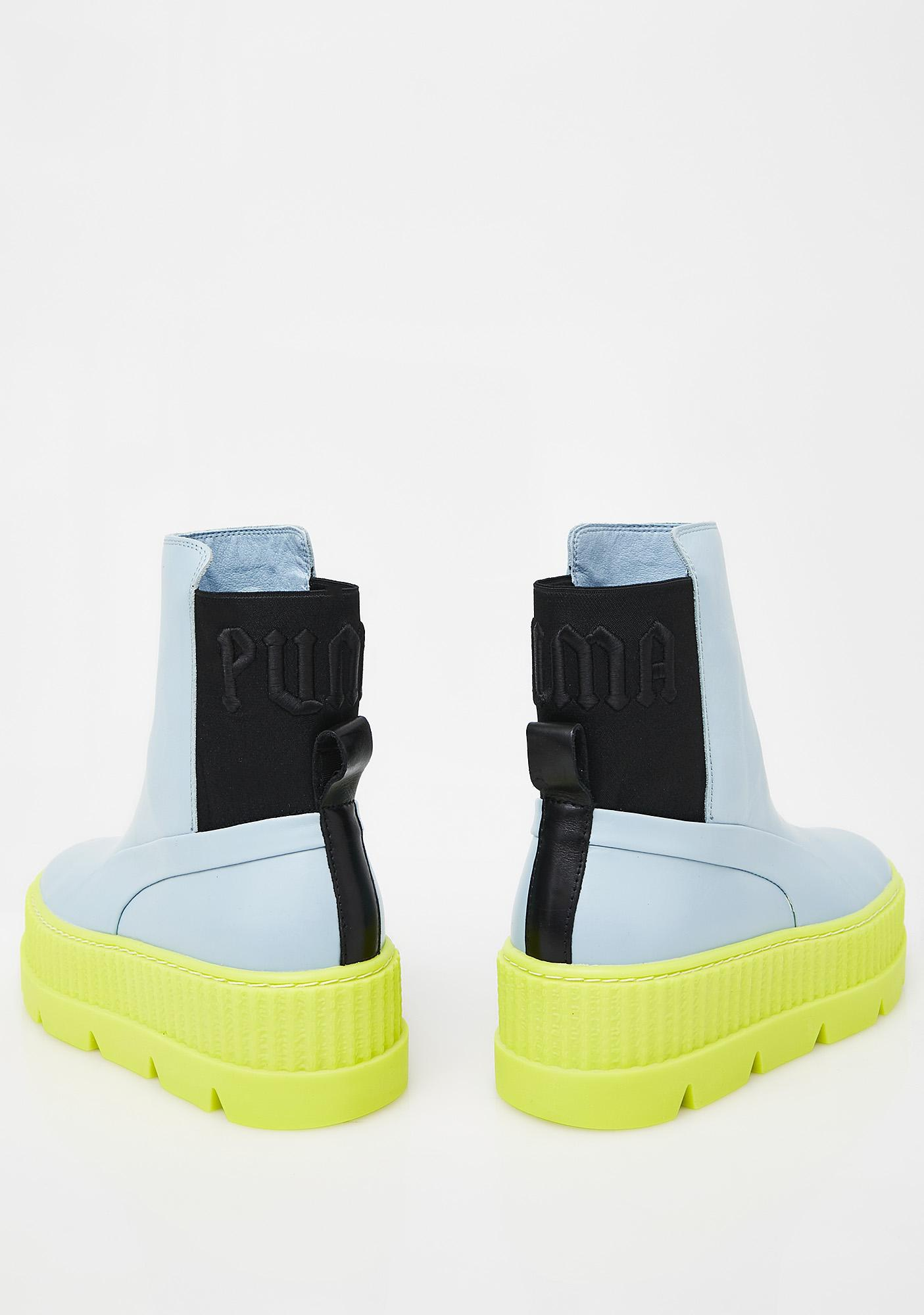 puma creepers blue and lime green