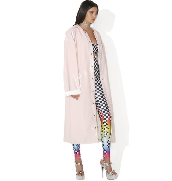 Jaded London Pink Patent Longline Jacket