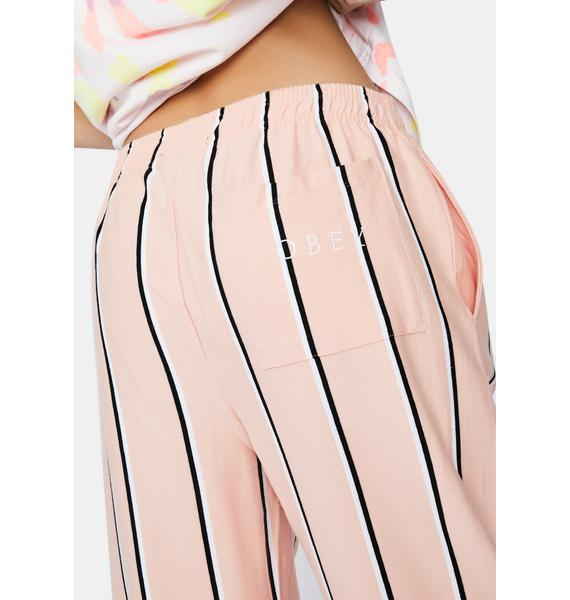 Obey Peach Ronny Striped Pants