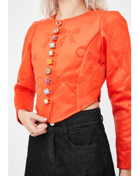 Bow Textured Orange Wool Jacket