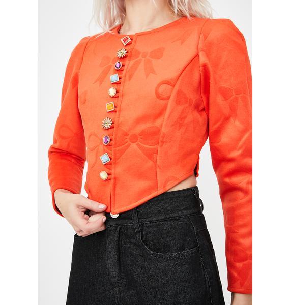 No Dress Bow Textured Orange Wool Jacket