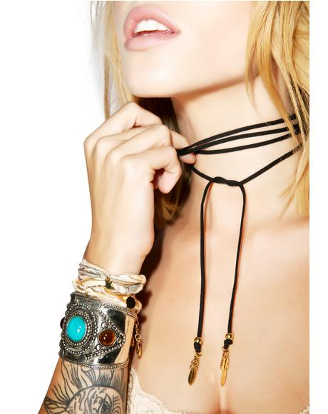 The Dealer Black Feather Wrap Choker