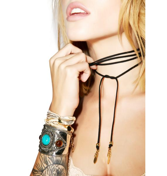 Vanessa Mooney The Dealer Black Feather Wrap Choker