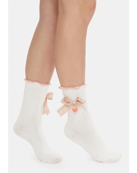 Purely Sweet Life Strawberry Charm Crew Socks