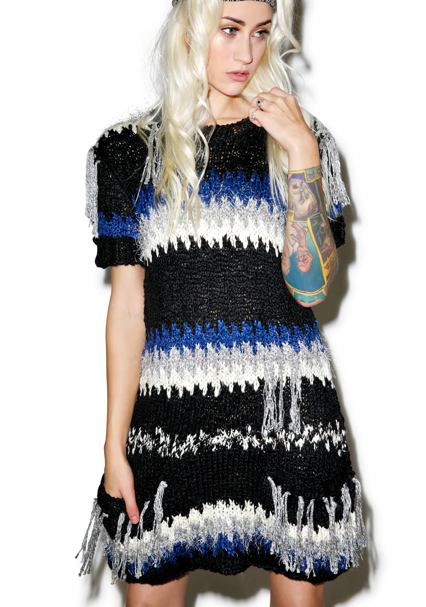 For Love & Lemons Black 'N Blue Crosby Fringe Dress