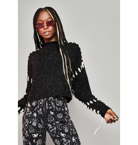 HOROSCOPEZ Trust Issues Lace-Up Sweater