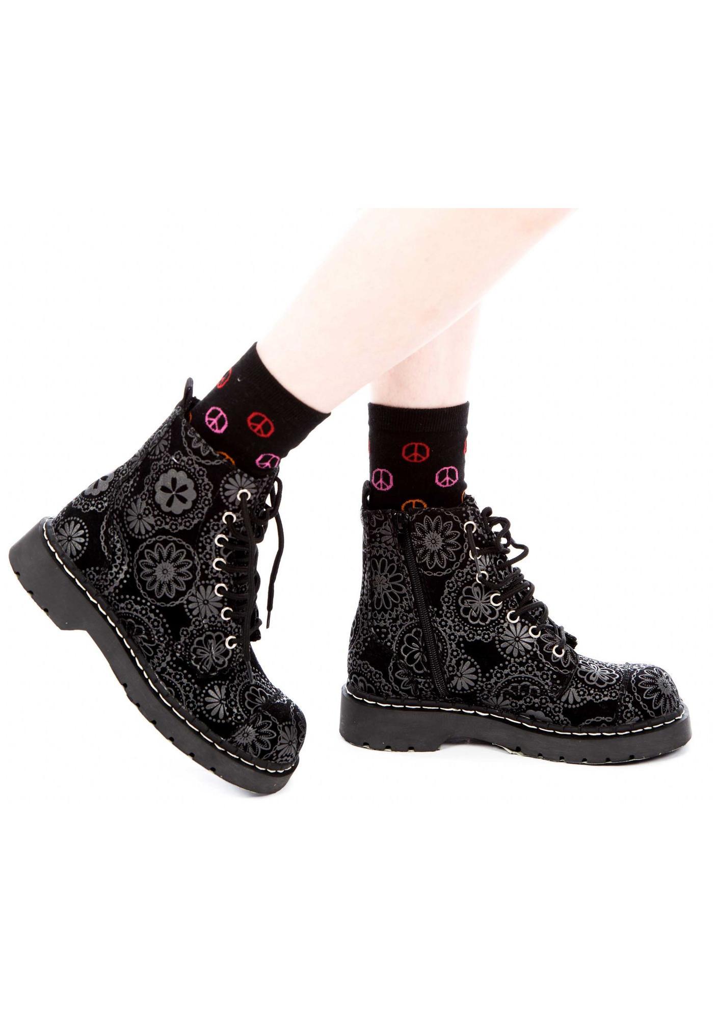T.U.K. Velvet Gothic Flower Doily Print 7 Eye Boot