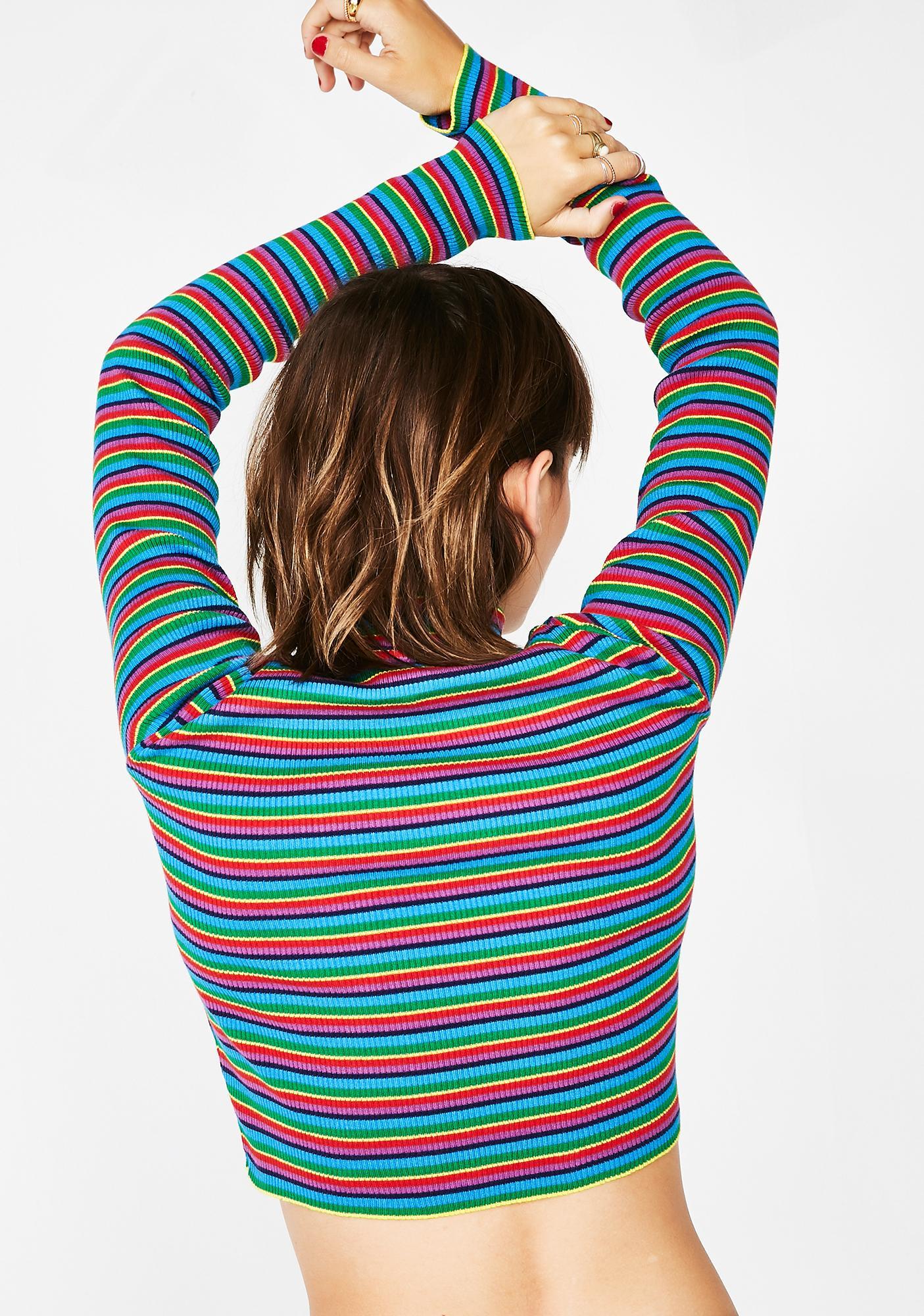 Minga Striped Ribbed O-Ring Zip Top