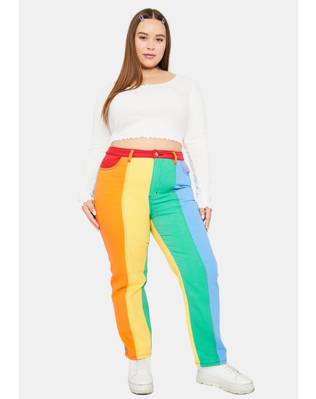 Honey All Is Bright Twill Mom Jeans