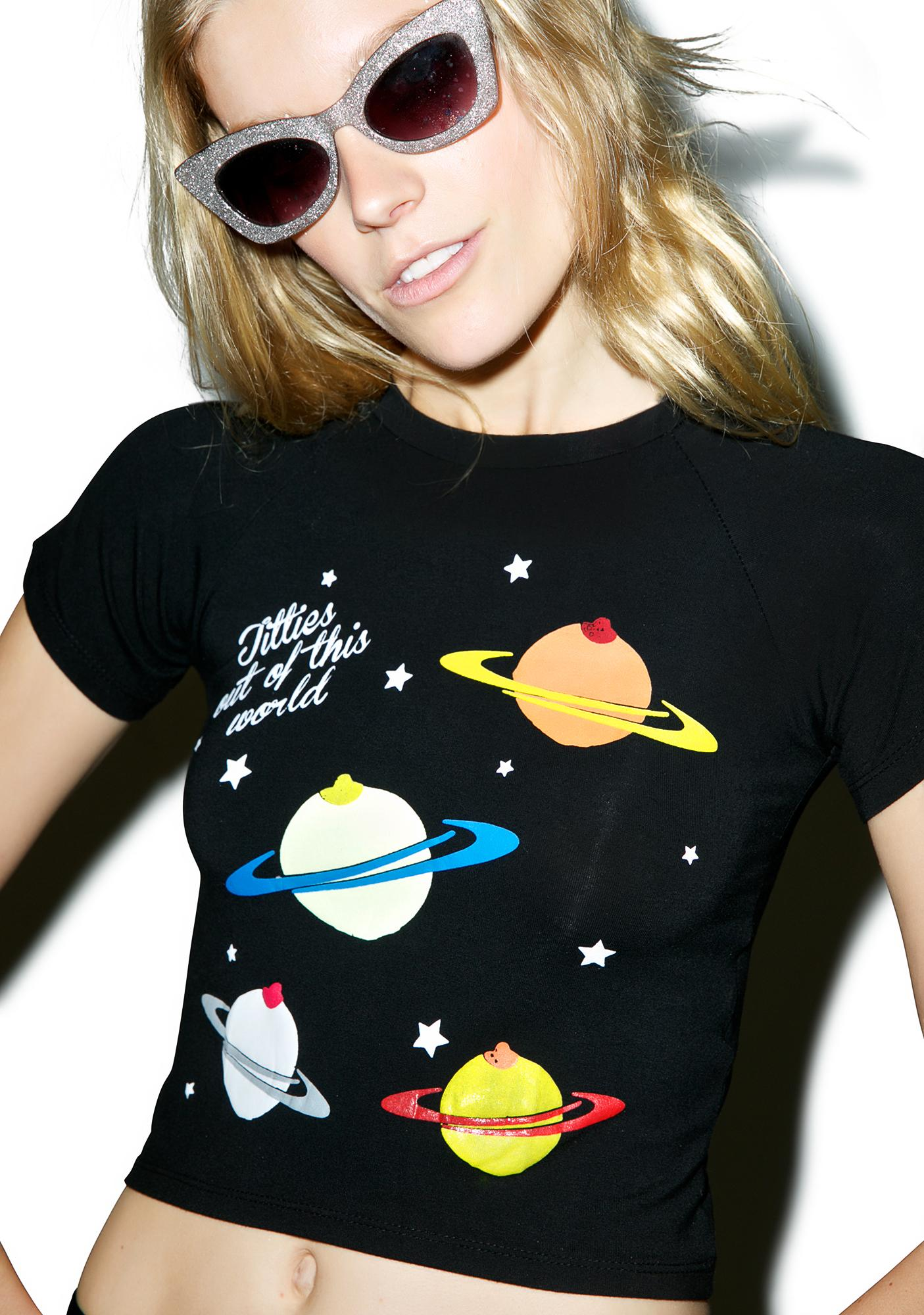 O Mighty Titties Galaxy Crop Tee