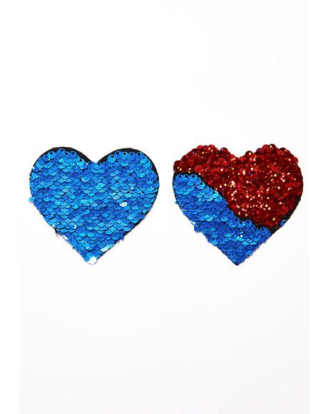 Red And Blue Sequin Pasties