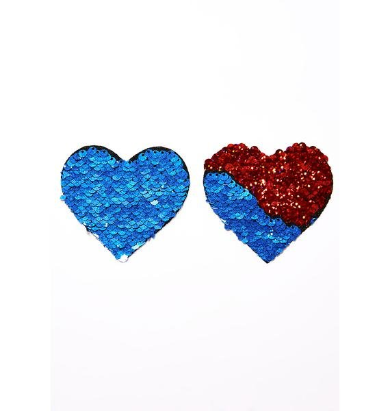 Neva Nude Red And Blue Sequin Pasties