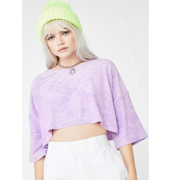 Lilac Skater Chic Velour Crop Top