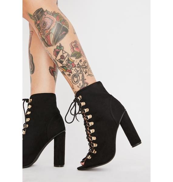 Peep Out Lace Up Booties