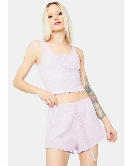 Lavender Lazy Off Day Ruffle Trim Tank Short Knit Set