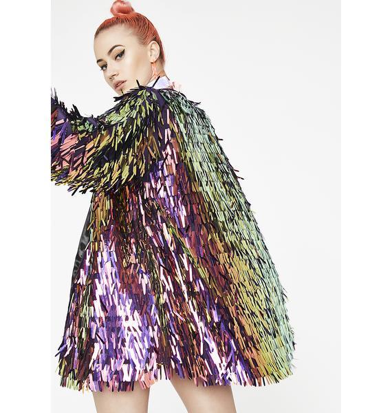 B Glittz Oil Spill Fringster Kimono
