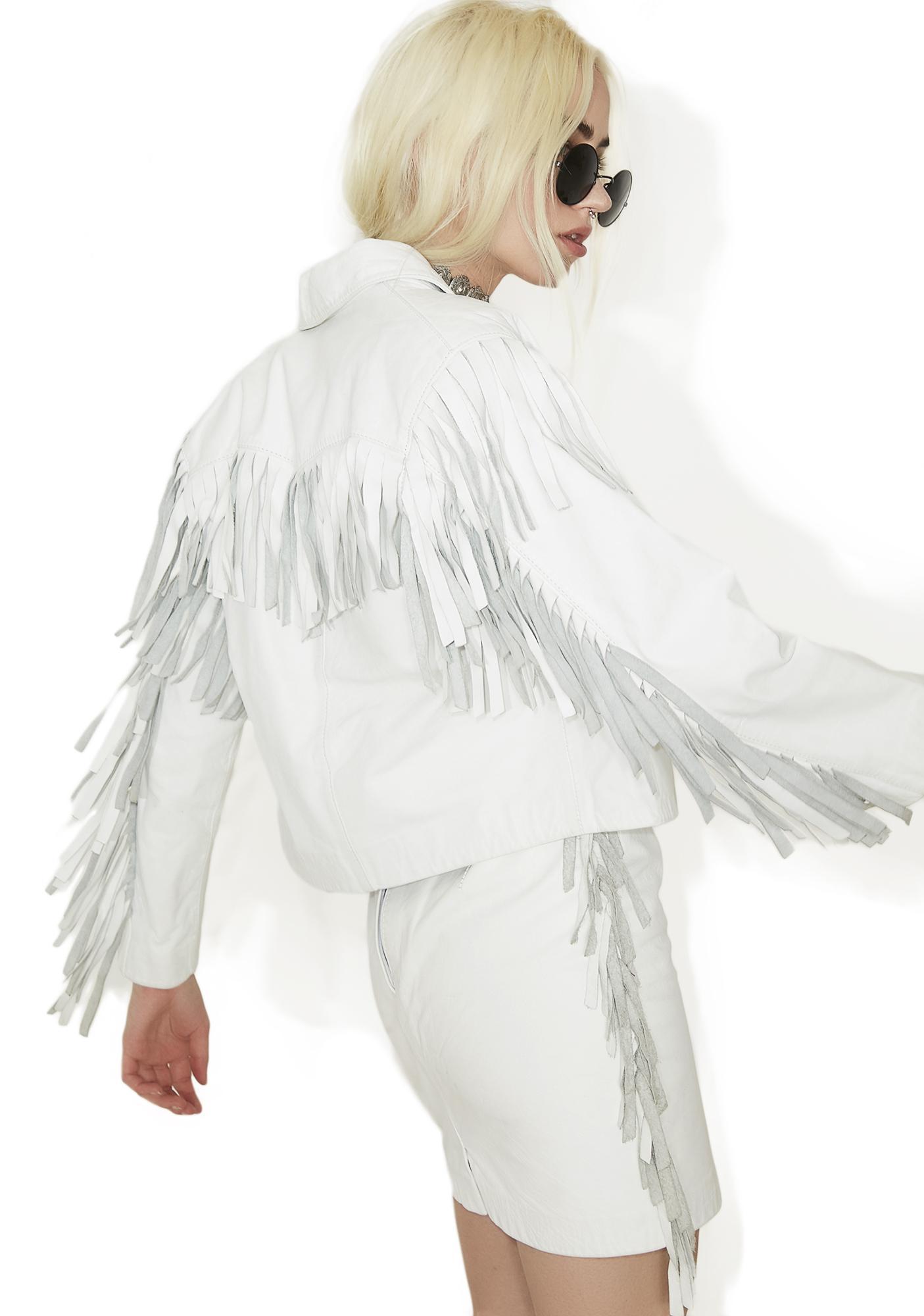 907f5c8c5 Vintage White Leather Fringe Jacket