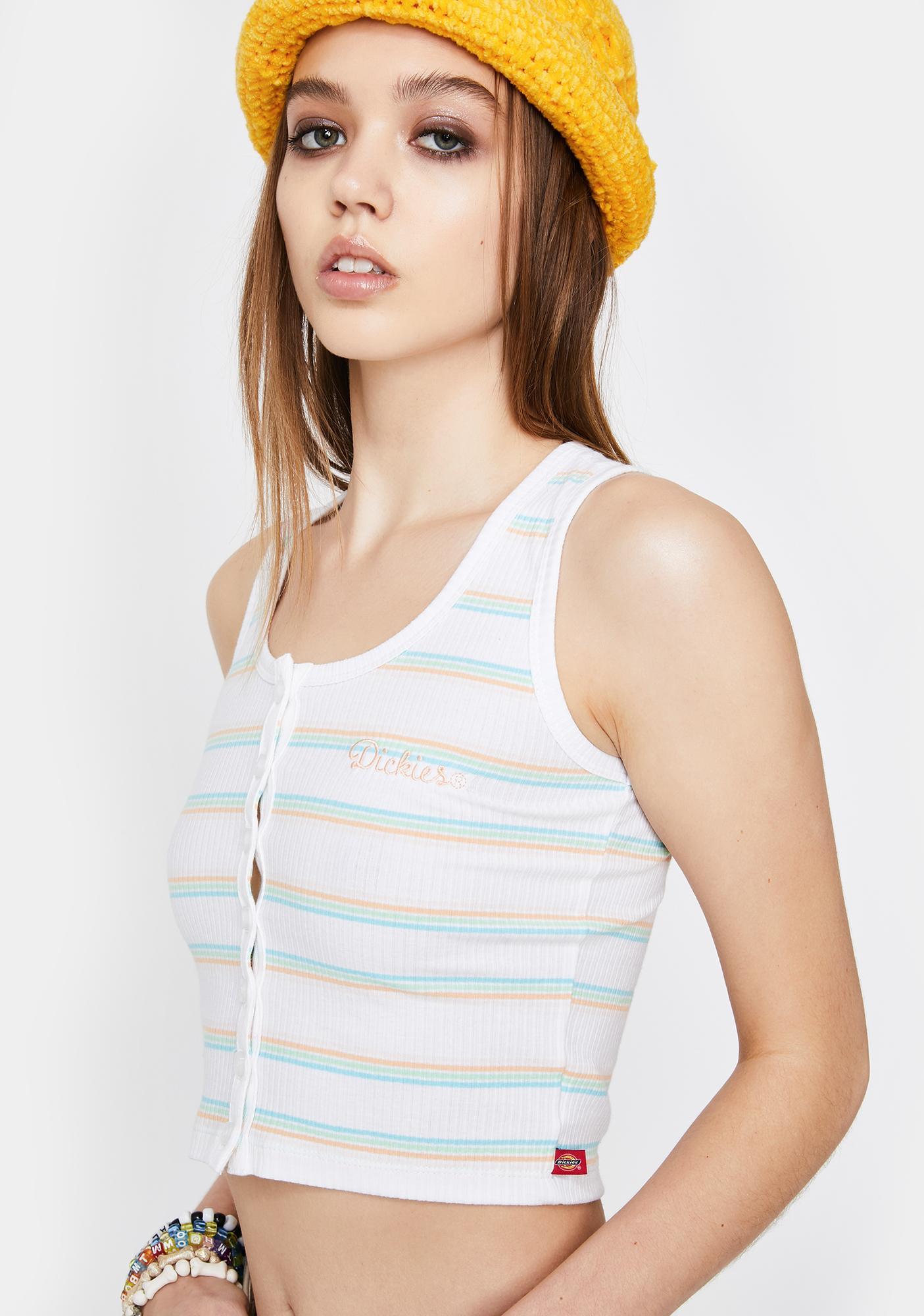 Dickies Girl Rainbow Stripe Button Up Tank